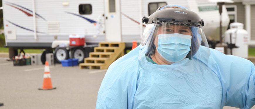Meridith Vaughan, RN BSN, a nurse at CVMC's Berlin ExpressCare, at CVMC's pop-up collection site.