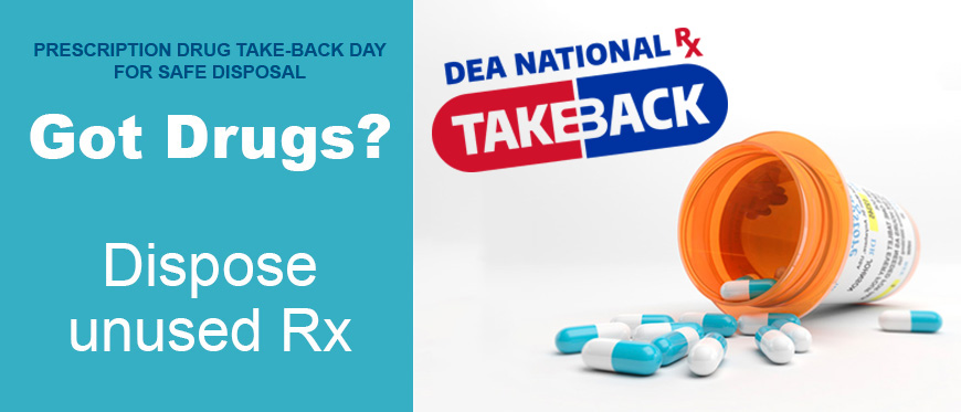 National Prescription Drug Take-Back Day text next to bottle of spilled prescription pills