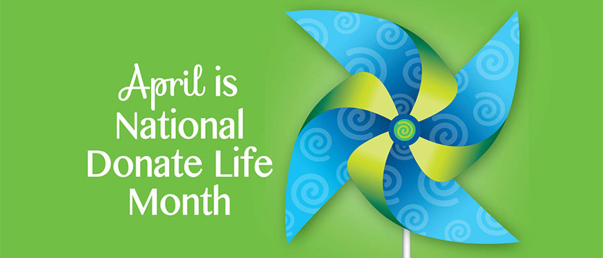 April is Donate Life Month text next to colorful pinwheel