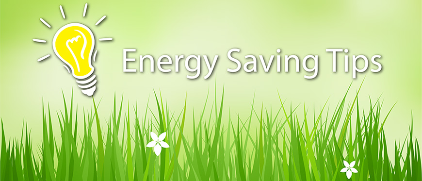 """Light bulb on grassy background with text """"Energy Saving Tips"""""""