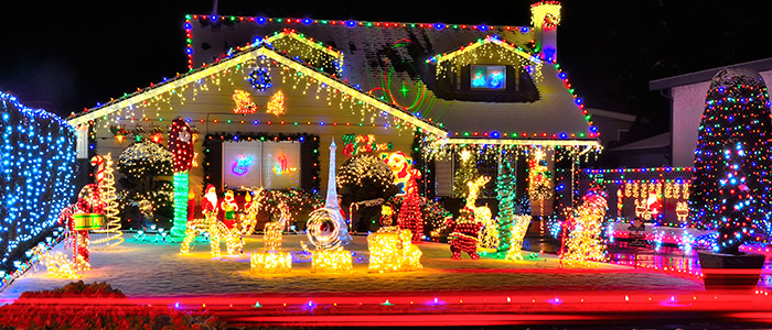 House with lots of Christmas Lights
