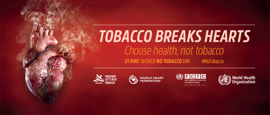 Diseased Heart with Tobacco Breaks Heart World No Tobacco Day campaign information