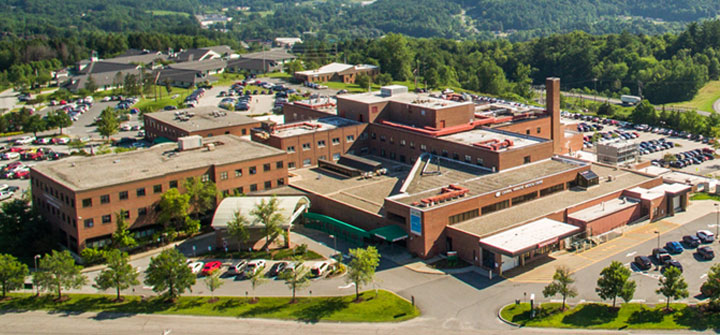 Aerial view of Central Vermont Medical Center campus