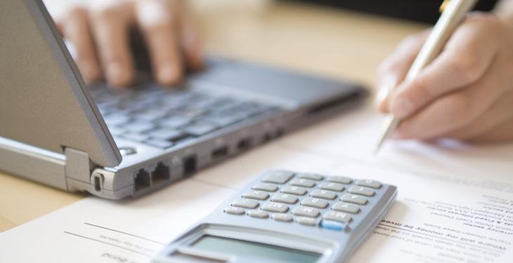 Person working on bills