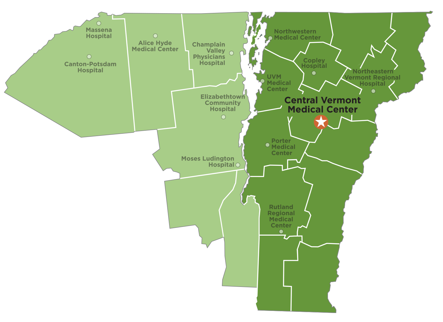 Map of Vermont and upstate New York highlight UVM Health Network hospital locations.
