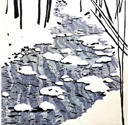 Painting of a river in the snow entitled Barnard Brook