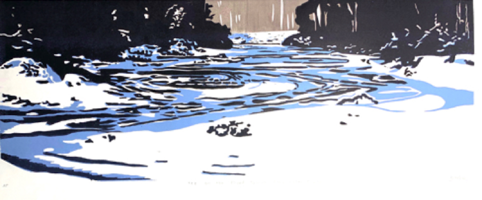 Painting of a river in the snow entitled Ice on the Third Branch of the White River, Randolph, VT