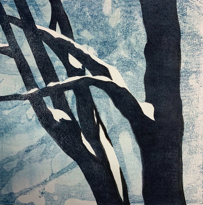Painting of snow covered branches entitled Tree by My Window.