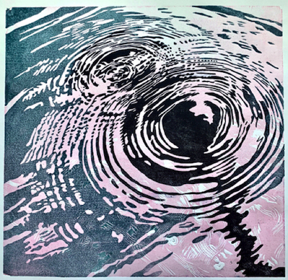 A dark aqua and light purple painting of two circular ripples in the water entitled Paddle Ripples.