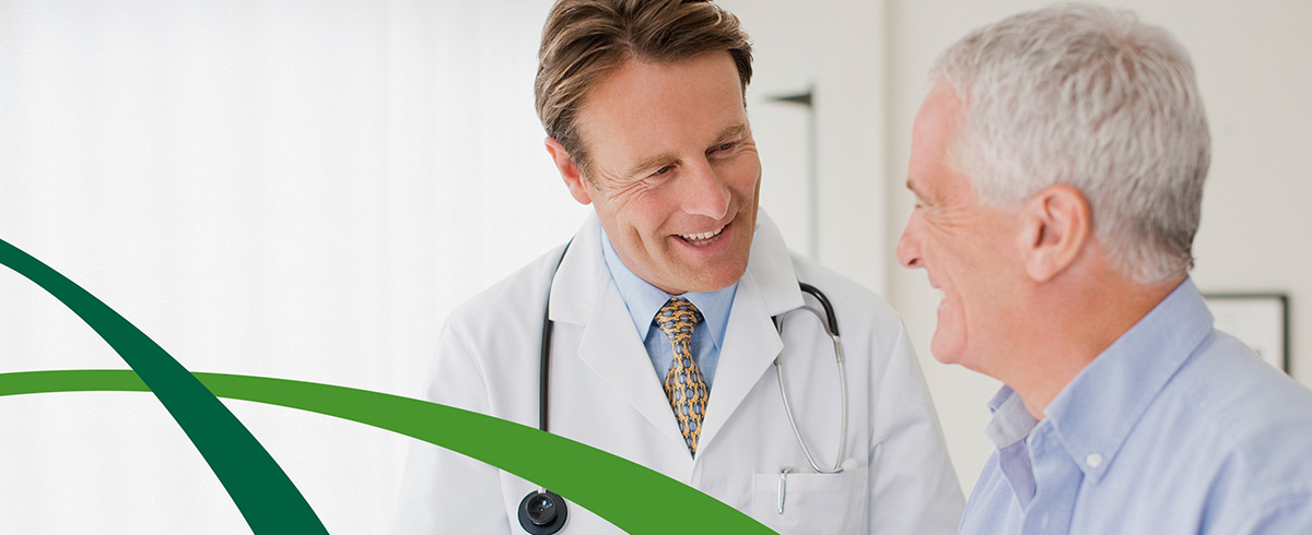 A physician talking with a patient