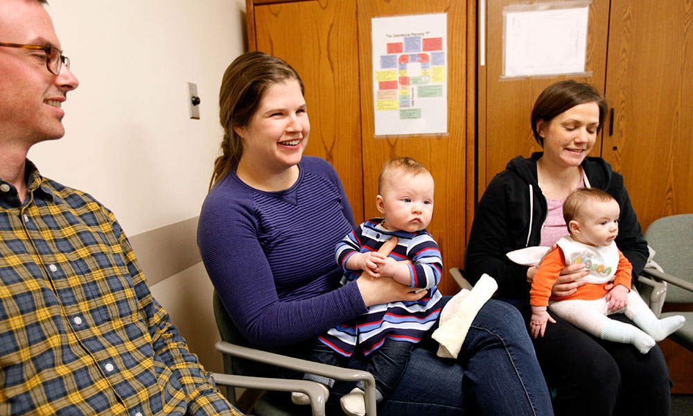 Moms, dads and baby's at one of CVMC's Breastfeeding Support groups