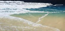 Woodblock Print of a Shoreline by Janet Cathey