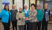 Ellie Traynor shown receiving her award from Auxiliary Vice President Wanda Baril.