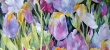Watercolor painting of purple hued flowers