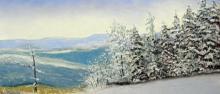 Winter landscape pastel painting